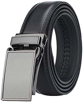 "Men's Comfort Genuine Leather Ratchet Dress Belt with Automatic Click Buckle (Suit Pant Size 28""-44"", Style 1 -Black)"