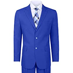 Vittorio St. Angelo Men's Classic 2 Button Suit - Royal, 38 Regular