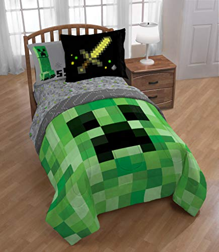 (Minecraft Builders Boys Twin Comforter, Sheets & Sham W (5 Piece Bed in A Bag) + Homemade Wax)