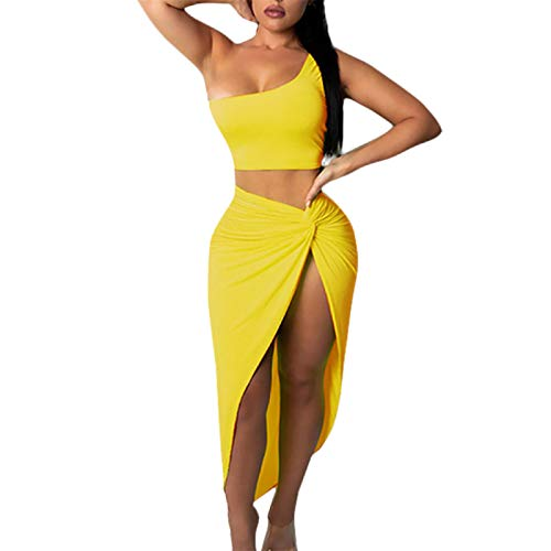 (Women's One Shoulder Sleeveless Crop Tops Summer Sexy Tank Tees Bodycon Slit Skirt 2 Pieces Dress Yellow)