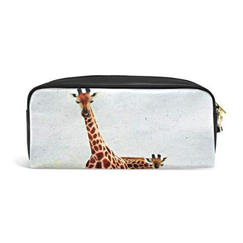 DEYYA PU Leather Giraffe Peek Boo Zipper Pencil Bag Pouch Pen Case Makeup Cosmetic Bag Portable Storage Organizer