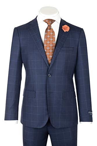 Porto Slim Fit, Midnight Blue with Blue Windowpane, Pure Wool Suit by GUABELLO Cloth by Canaletto Menswear LG8878F/435/2