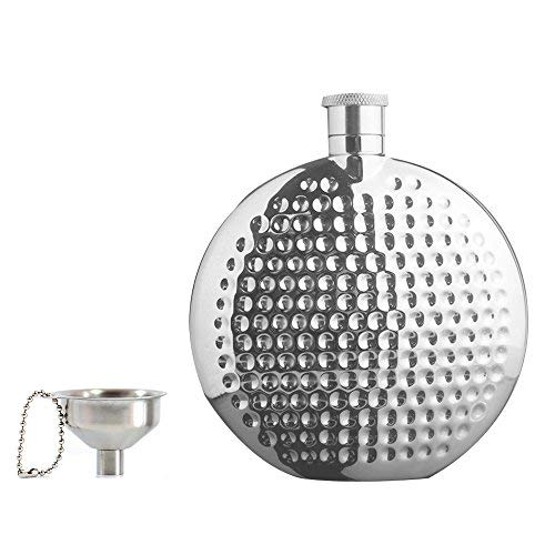 Hammered Design Hip Flask - Portable 6 OZ Round Hip Flask & Funnel Set with Gift Box,18/8 304 Food Grade Stainless Steel Hammered Hip Flask,Pocket flagon,Camping Wine Pot,Gift for Men or Women by Quality Life Designer (6 OZ)