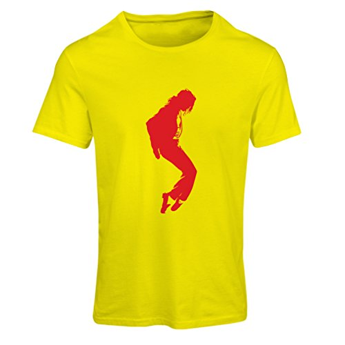 T Shirts for Women I Love MJ - Fan Club Clothes, Concert Clothing (Large Yellow Red)