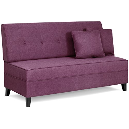Best Choice Products Contemporary Linen Fabric Tufted Upholstered Armless Loveseat Sofa w/ Throw Pillows (Purple) - Contemporary Upholstered Loveseat