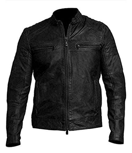 ntage Motorcycle Black Distressed Leather Jacket ()