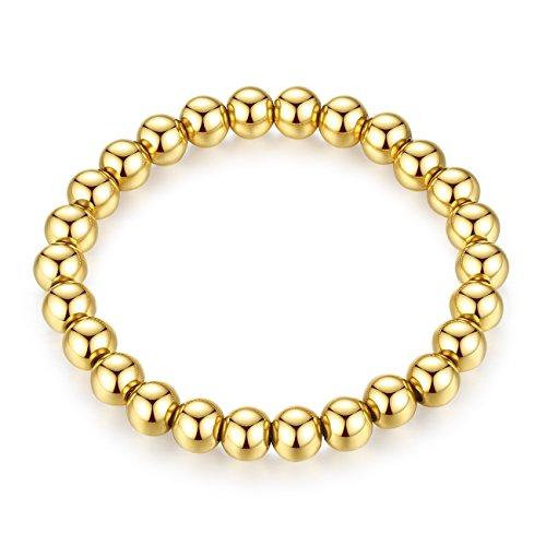 REVEMCN Men's 8MM Silver Gold Black Tone Polished Finish Stainless Steel Beads Stretch Bracelet Bangle (Gold Tone)
