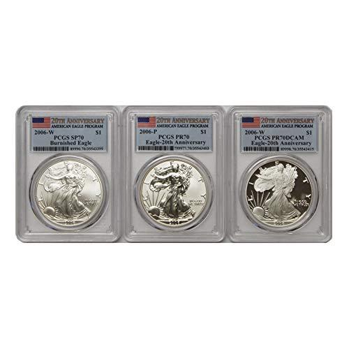 American Eagle Pcgs Coin Set - 2006 P/W American Silver Eagle 3 Coin Set w/Box & CoA SP/PR70