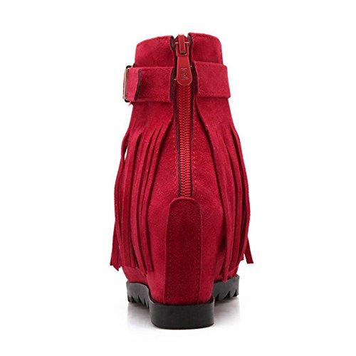 TAOFFEN Women's Wedge Heel Sandals Fringe Red Ig7Xgbm