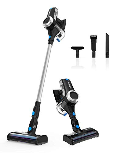Cordless Vacuum Cleaner, Stick 2 in 1 Handheld Vacuum Cleaner 18KPa, 350W, HEPA filter, Replaceable Battery, Dcenta