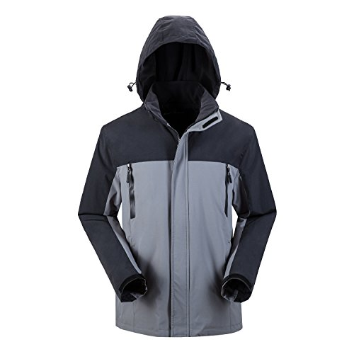 - Men's Windproof Ski Hooded Fleece Jacket Coat (S, Grey)