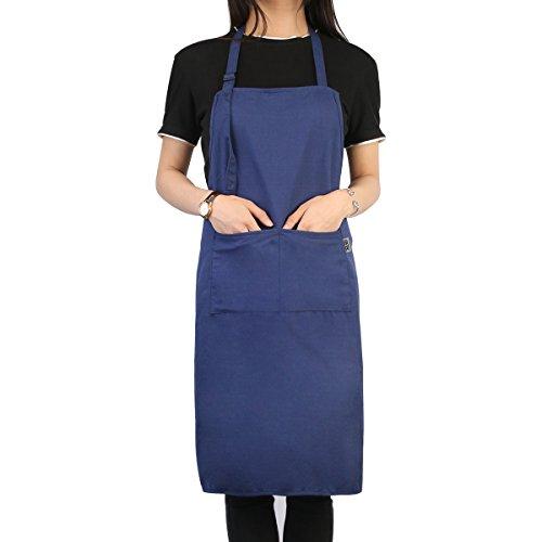 UEETEK Professional Bib Apron Works Apron, Cooking Kitchen Aprons for Women Men Chef, Blue
