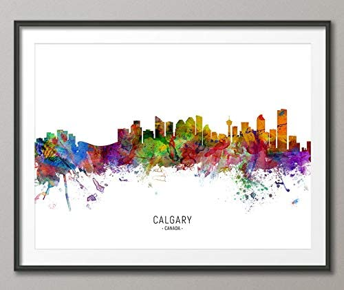 Calgary Skyline Canada Cityscape with City Name Painting Art Print Poster