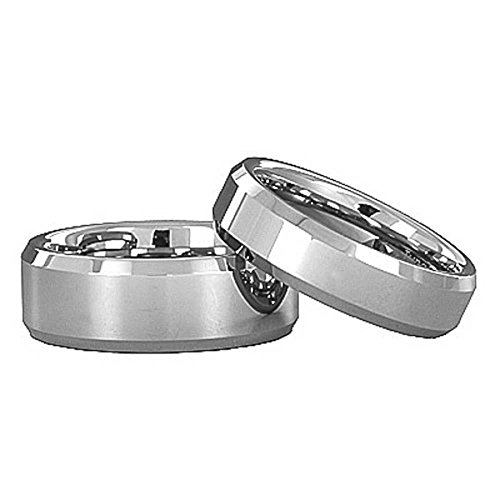 Satin Hers Tungsten (FlameReflection Tungsten His & Hers Engagement & Wedding Band Ring Sets Satin Polish Bevel Edge)