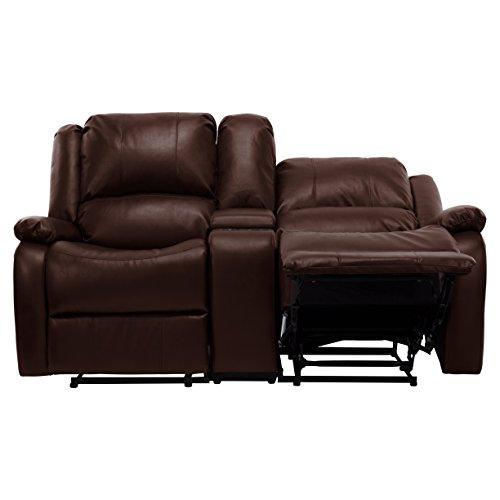Recpro Charles 67 Double Rv Zero Wall Hugger Recliner Sofa W Console Mahogany Home Theater