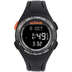 Alfajr WQ-18 Black Qibla Compass Nimaz/Prayer/Azan Watch with Rubber Strap - For Men/Women
