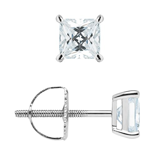 Stud Earrings | Princess Cut Cubic Zirconia | Screw Back Posts | 1.0 CTW | With Gift Box ()