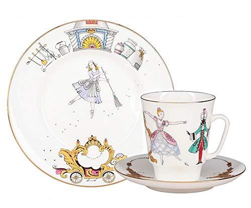 22k Gold Imperial Porcelain 5.6 fl oz. (165 ml) Cinderella Ballet 3-pc Tea Set Lomonosov Porcelain ()