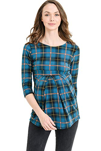 LaClef Women's Round Neck 3/4 Sleeve Front Pleat Peplum Maternity Top (Teal/Coral Plaid, ()