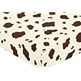 Western Cowgirl Fitted Crib Sheet for Baby and Toddler Bedding Sets by Sweet Jojo Designs - Cow Print