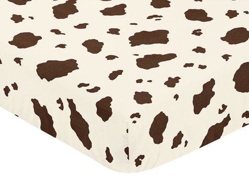 Sweet Jojo Designs Western Cowgirl Fitted Crib Sheet for Baby and Toddler Bedding Sets - Cow Print -