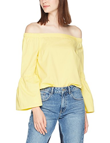 New Look Poplin Flare, Maglia a Maniche Lunghe para Mujer Yellow (Mid Yellow)