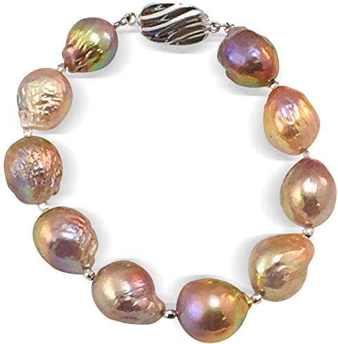 HinsonGayle AAA GEM 12-13mm Rainbow Fireball Baroque Freshwater Cultured Pearl Bracelet Silver, 7.5 inch