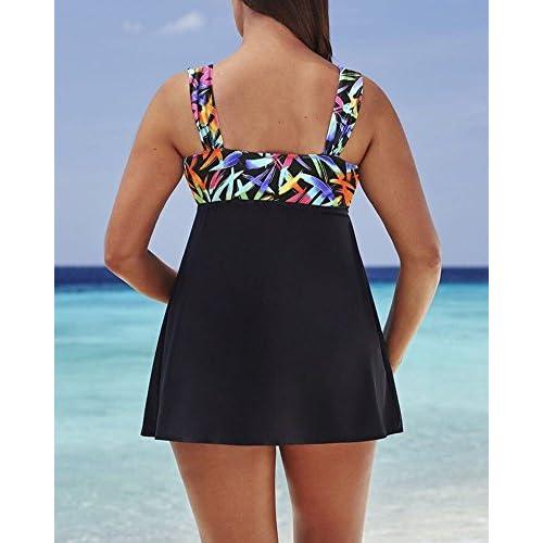 Femme Tankini Élégant Grande Taille À Pois Deux Pieces Push Up Gilet Rembourré Maillot De Bain Jupette Bonne Qualité Beachwear