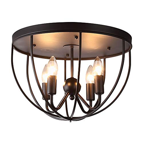 KunMai Vintage Black Metal Round Cage Ceiling Light Semi Flush Mount Rustic Fixture 4 Lights Candle Style