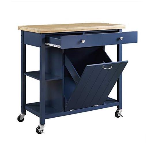 Kitchen Almeris Lux Blue Kitchen Island Cart Wheels Bamboo Top Storage Cabinet Drawers Rolling Utility Shelf Furniture Table… modern kitchen islands and carts