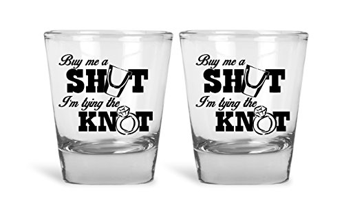Buy Me A Shot I'm Tying The Knot Funny Novelty Shot Glasses Set | Great for Bride, Groom, Bachelor and Bachelorette Party by Mad Ink Fashions]()