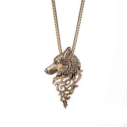 - Alloy Pendant Necklace Gift Wolf Shape Jewelry Besooly (Braze)