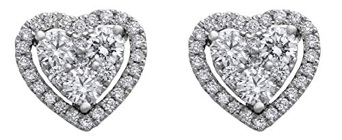 - Olivia Paris 14K White Gold 3/4 Carat (ctw) Diamond Halo Heart Cluster Stud Earrings (H-I, SI2-I1)