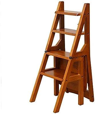 Firsthgus Taburete de Madera Maciza de 4 peldaños Silla de Escalera Plegable Americana, Soporte de Flores multifunción Taburete de Estante de Doble Uso Silla de peldaño: Amazon.es: Hogar