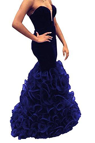 UTAMALL Royal Blue Velvet Long Mermaid V Neck Prom Dresses Evening Gowns for Women