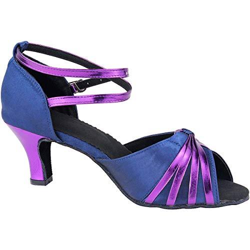 Púrpura Salón Baile Étnica Medio Satén Pescado Latinos Boca De Wealsex Danza 6 Talón Zapatos Mujeres Cm EOqZxn6ST