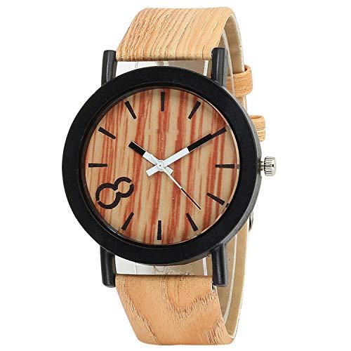 - Fashion Watch Imitation Wood Grain Leather Strap Analog Quartz Wristwatch Busis Men Clock 4 Color,Two