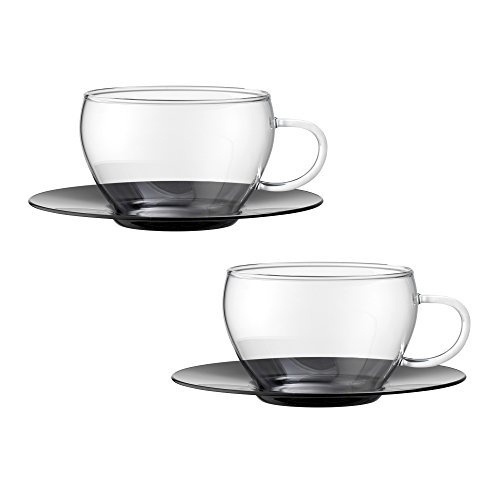 Bohemia Cristal 093012098Play of Colors Borosilicate Glass Set of 2Coffee/Cappuccino Cup with Saucer Plastic Drinking Glass Black; 100x 100x 6cm 2Units
