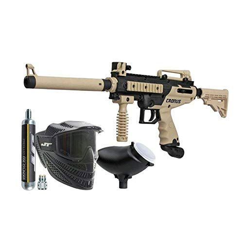 (Tippmann Cronus Combat Powerpack .68Cal Paintball Kit Includes Raptor Goggle, 90G Co2 Tank, 200Rd Loader, Tan )