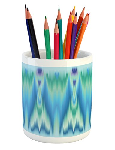 Teal Pencil Pen Holder by Lunarable, Colorful Ethnic Fabric Pattern Ikat Style Tie Illustration Vertical Geometric Lines, Printed Ceramic Pencil Pen Holder for Desk Office Accessory, Blue Green