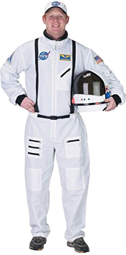 Aeromax Adult Astronaut Suit with Embroidered Cap, White, Large ()