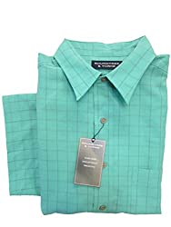 Roundtree & Yorke Marine Green Plaid Modal Blend Button-down Collar S/S Shirt Large
