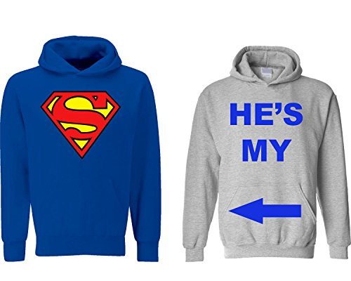 Fresh Tees® He's My Superman/ She's My World Couple Hoodie Set (M Large/W Medium, M Blue-W Grey)