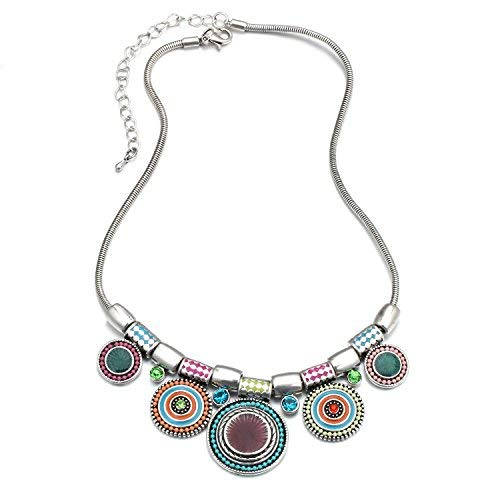 HONGYE Bohemian Multicolor Round Pendants Enamel Rhinestone Ethnic Necklace for Women