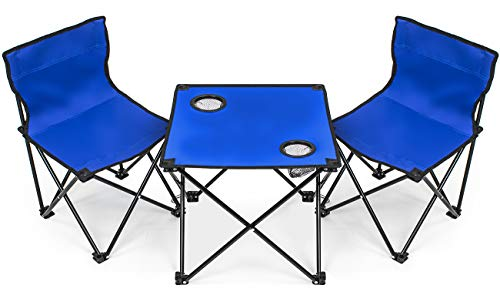 Sorbus Kids Camping Chair Table Set with Cup Holder Cooler, Foldable Frame, and Portable Carry Bag, Great for Camping, Sporting Events, Beach, Travel, Backyard, Patio, etc Kid Chair Table Set Blue