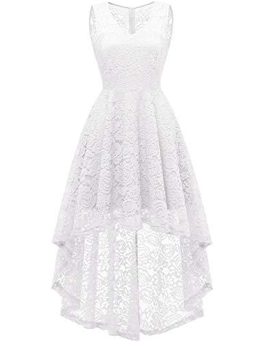 Plain White Dress For Halloween (DRESSTELLS Women's Homecoming Dress V-Neck Floral Lace Hi-Lo Cocktail Party Dress White)