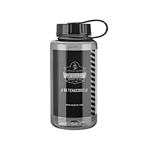Ergodyne Chill-Its 5151 Ergodyne Plastic Wide Mouth Water Bottle, 1-Liter, Gray