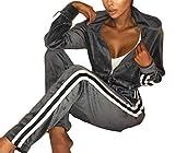 Cromoncent Women Stripe Velvet Zip up Stylish Sweatshirt Sweatpants 2 Pcs Leisure Active Tracksuit Set Grey XL
