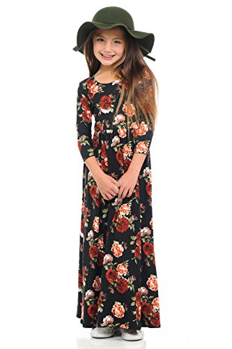 Pastel by Vivienne Honey Vanilla Girls' Fit and Flare Maxi Dress Small 5-6 Years Floral Black - Flare Kids