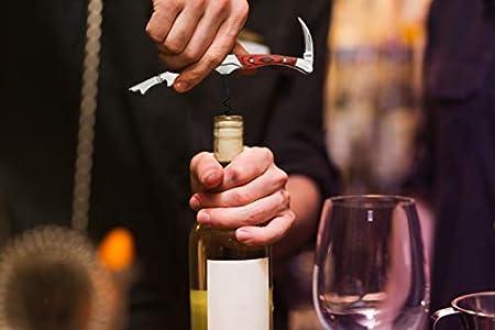 Plantvibes ® Sacacorchos Profesional & Abrebotellas, Diseño Noble y Multifuncional, Sacacorchos de Camarero (Madera roja - Caja de regalo)